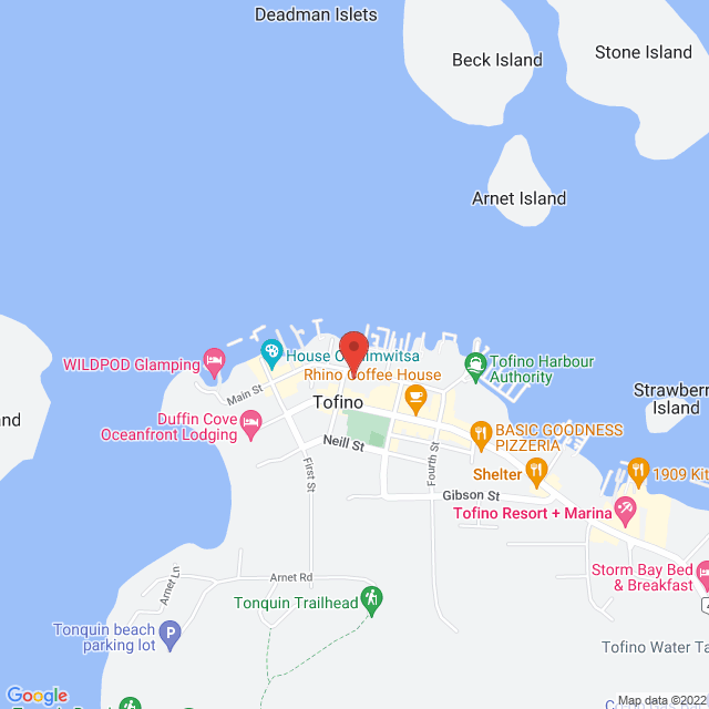 Map to St. Columba Anglican in Tofino, British Columbia