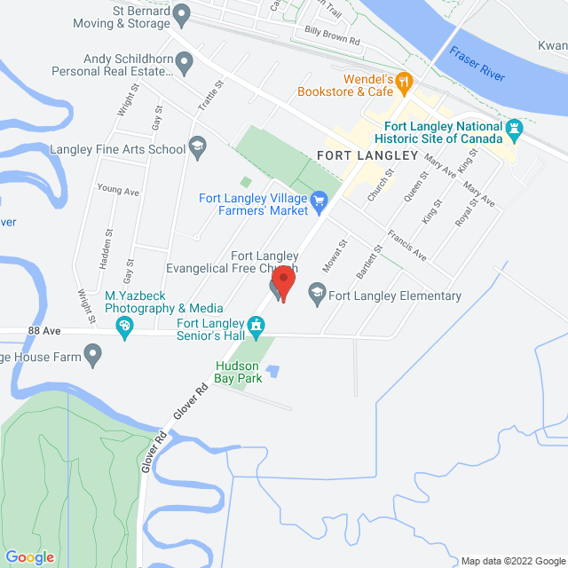 Map to Fort Langley Evangelical Free Church in Fort Langley, BC