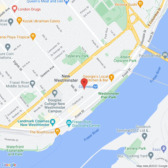 Map to Holy Trinity Cathedral in New Westminster, BC