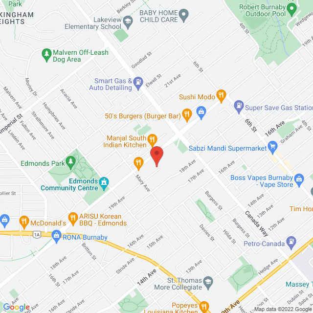Map to Metro Baptist Church in Burnaby, BC