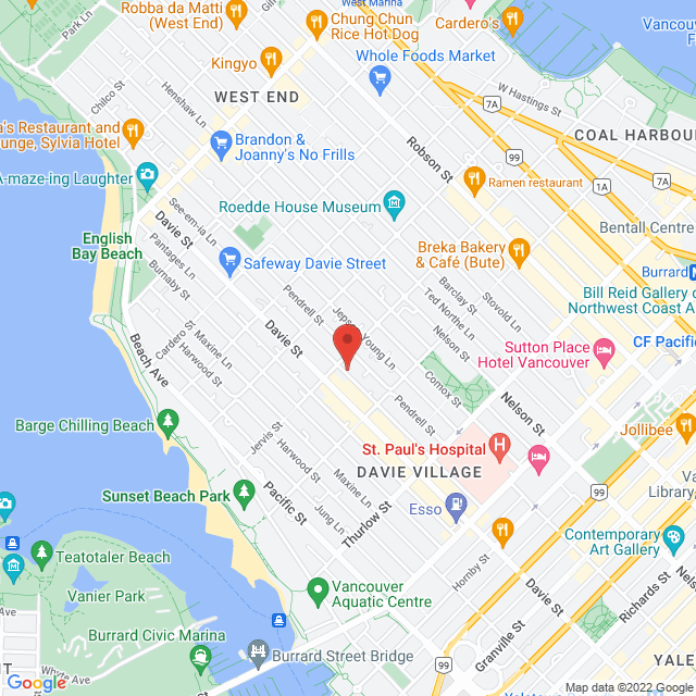 Map to St. Paul's Anglican Church in Vancouver, BC