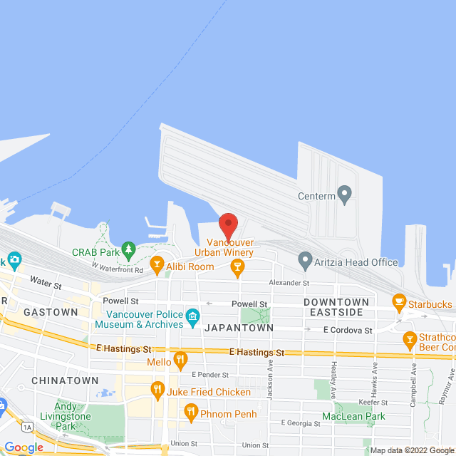 Map to The Mission to Seafarers in Vancouver, BC