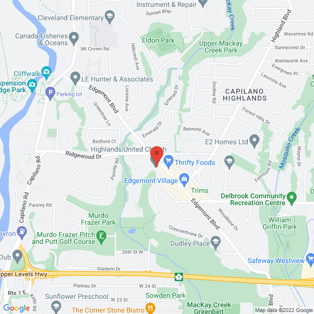Map to Highlands Online in North Vancouver, BC
