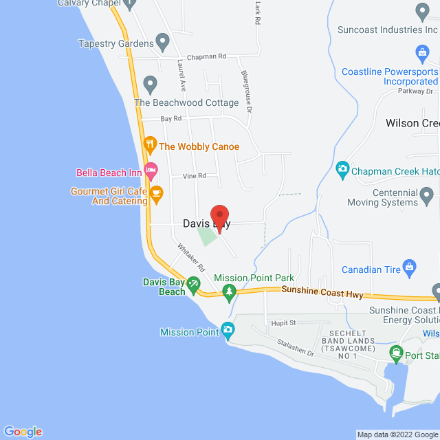 Map to St. John's United Church in Sechelt, BC