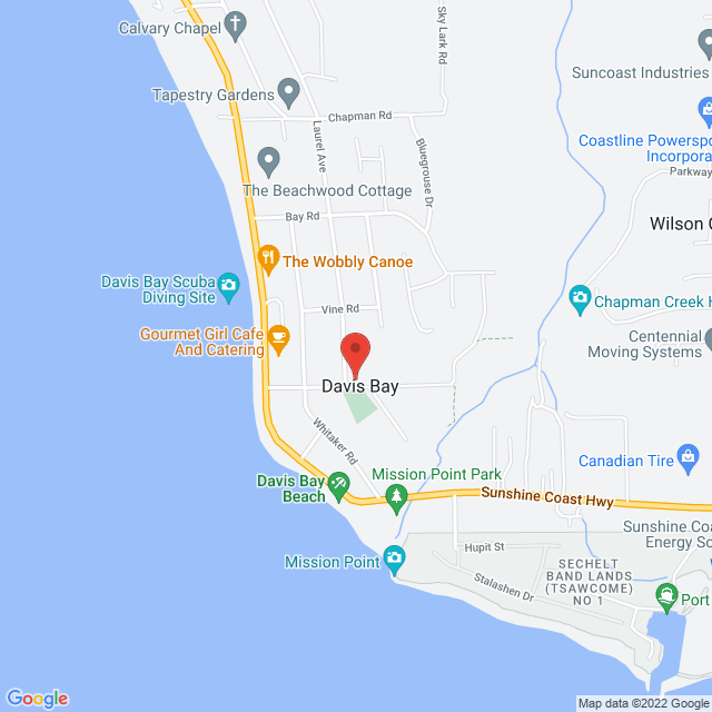 Map to Crossroads Community Church of the Christian and Missionary Alliance in Canada in Sechelt, British Columbia