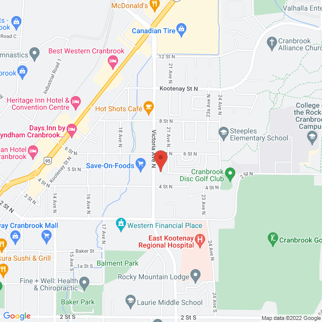 Map to Cranbrook Fellowship Baptist in Cranbrook, BC