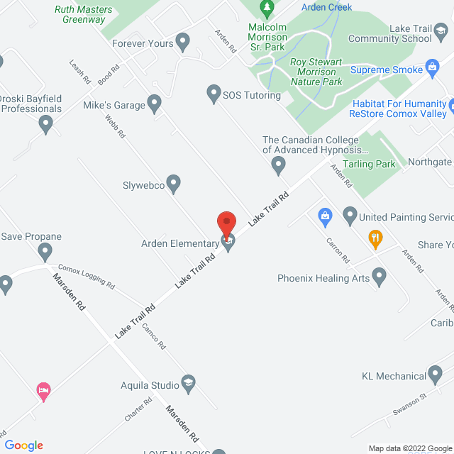 Map to Courtenay Fellowship Baptist Church in Courtenay, BC