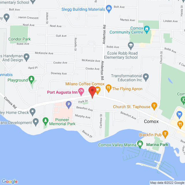Map to Comox United Church in Comox, BC