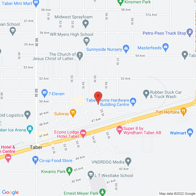 Map to Taber Evangelical Free Church in Taber, Alberta