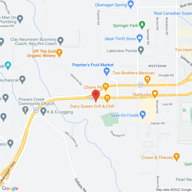 Map to Emmanuel Church in West Kelowna, BC