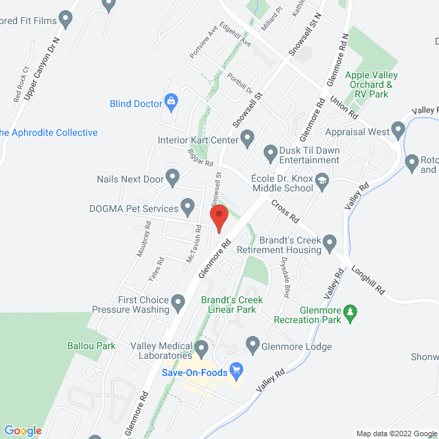 Map to Mountainview Church in Kelowna, BC