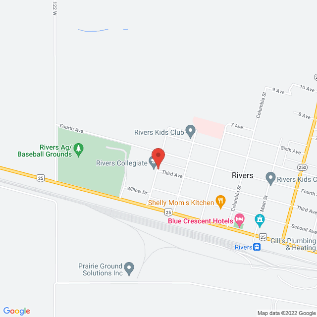 Map to Zion Church in Rivers, MB