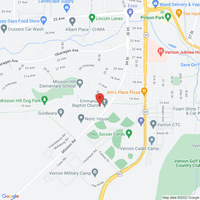 Map to Emmanuel Baptist Church in Vernon, BC
