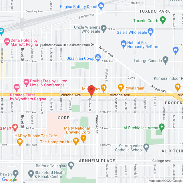 Map to Grace Evangelical Lutheran Church in Regina, SK