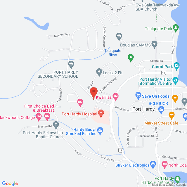 Map to St. Columba's Anglican United Church in Port Hardy, BC