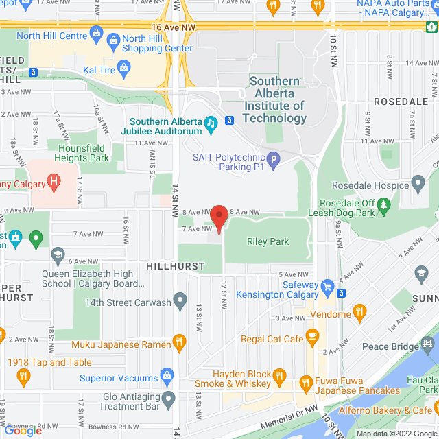 Map to St. Barnabas Anglican Church in Calgary, AB