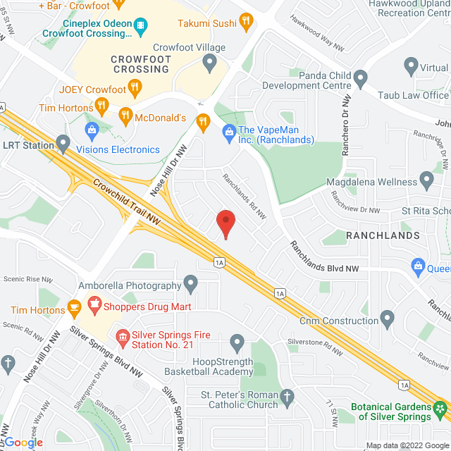 Map to Westview Baptist Church in Calgary, AB
