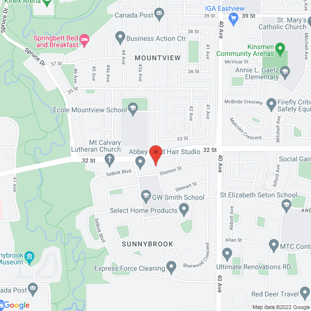 Map to Sunnybrook United Church in Red Deer, AB