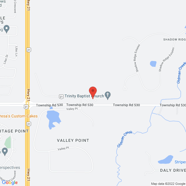Map to Trinity Baptist Church in Sherwood Park, AB