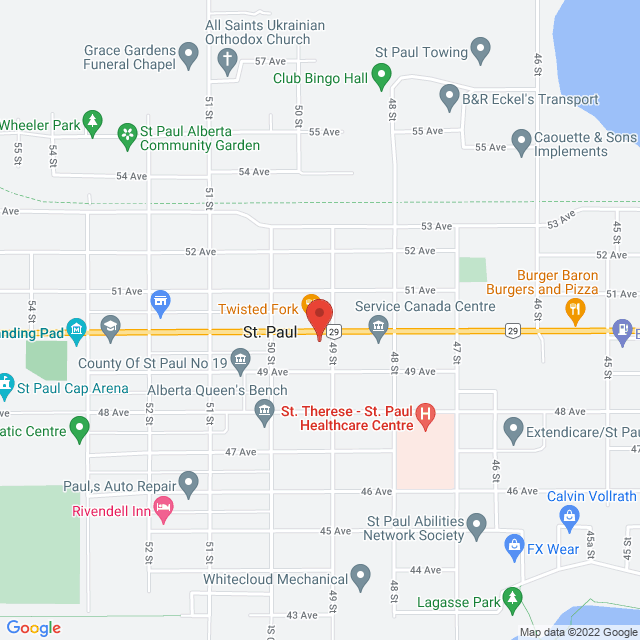 Map to Bethel Family Worship Centre in St. Paul, AB