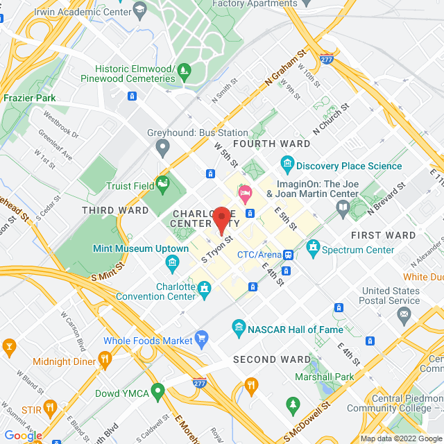 Map to Carolina Spine and Sports Rehab in Charlotte, North Carolina