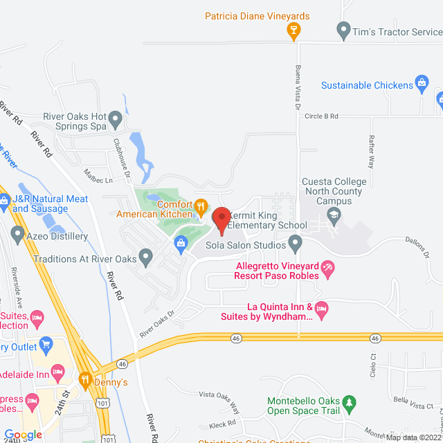 Map to Redeemer Baptist Church in Paso Robles, CA