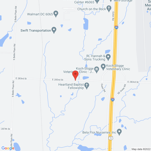 Map to Heartland Baptist Fellowship in Harrisonville, MO