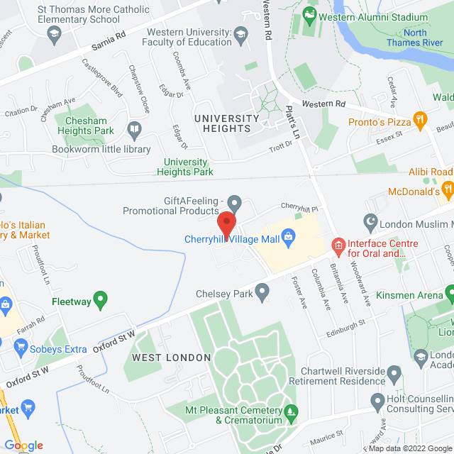 Map to Cherryhill Chiropractic Clinic in London, ON