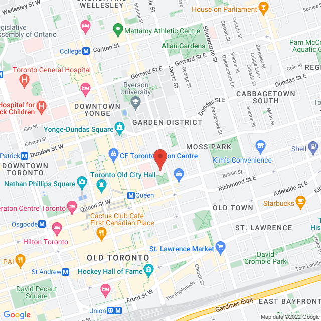 Map to Metropolitan United Church in Toronto, ON