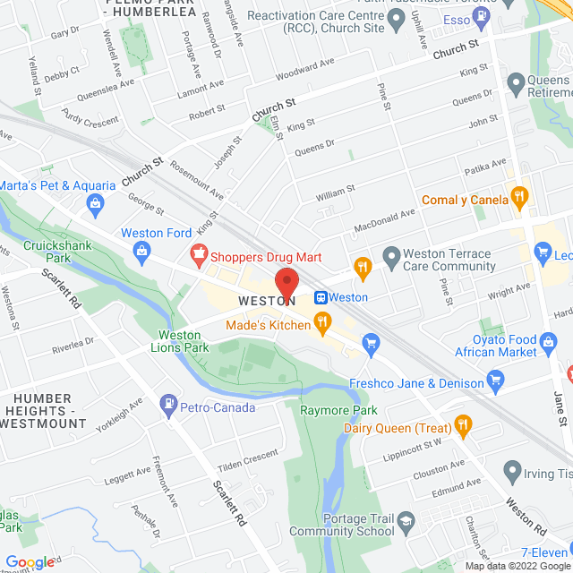 Map to Weston Park Baptist Church in Toronto, ON