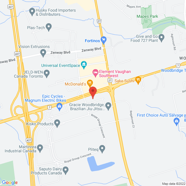 Map to The Spine and Sports Clinic in Woodbridge, ON