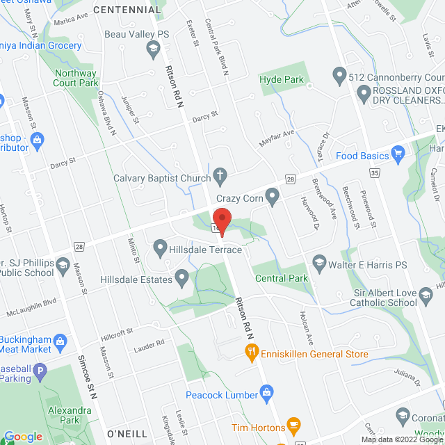 Map to Ritson Road Alliance Church in Oshawa, ON