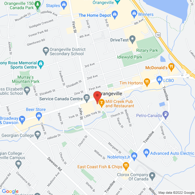 Map to ORANGEVILLE WELLNESS CLINIC in Orangeville, ON