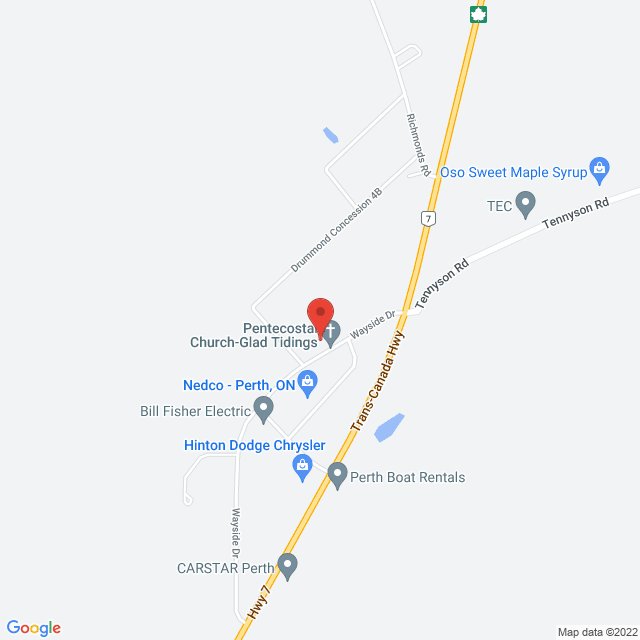 Map to Glad Tidings Pentecostal in Perth, ON