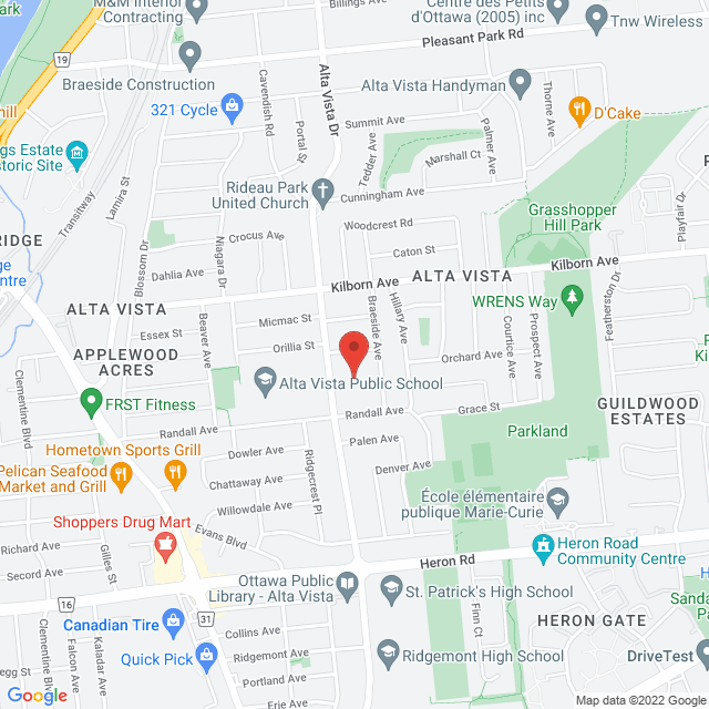 Map to St. Thomas the Apostle Anglican Church in Ottawa, ON