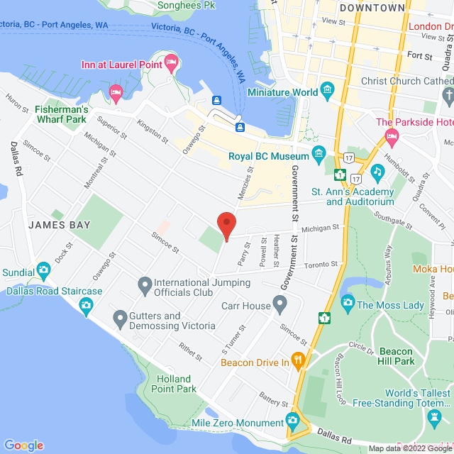 Map to James Bay United Church in Victoria, BC