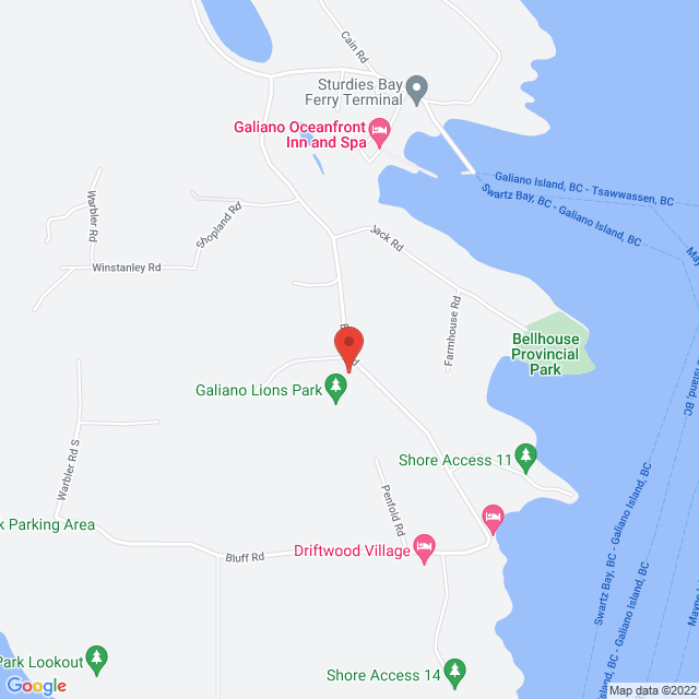 Map to St. Margaret of Scotland in Galiano Island, BC