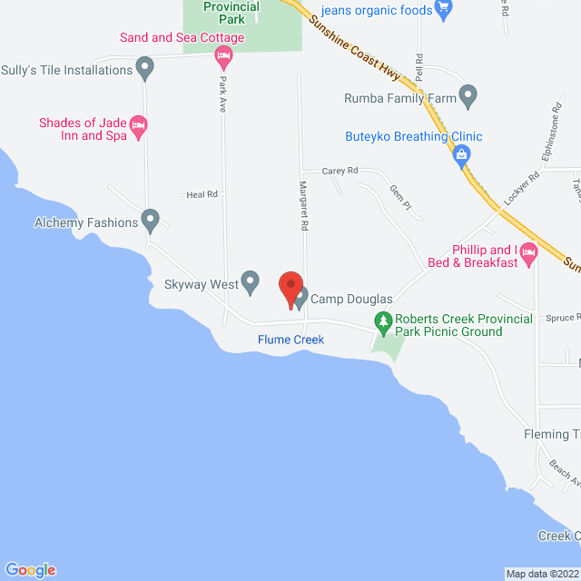 Map to Camp Douglas in Roberts Creek, BC
