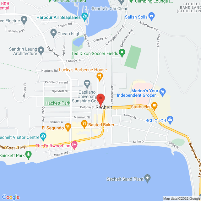 Map to Sunshine Coast Community Foundation in Sechelt, BC