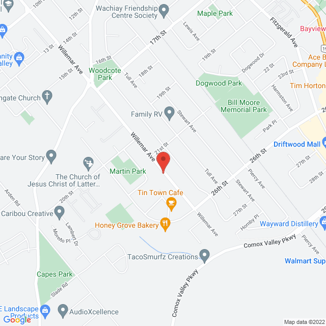 Map to Prime Medical Billing Company in Courtenay, BC