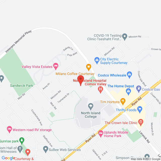 Map to Living Hope Church in Courtenay, BC