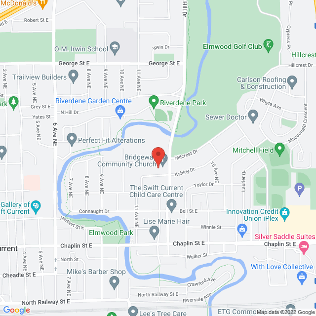 Map to Bridgeway Community Church in Swift Current, SK