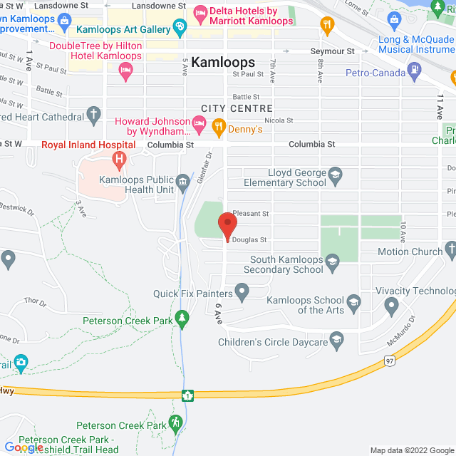 Map to St. Andrew's Presbyterian Church in Kamloops, BC