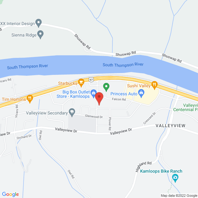 Map to Gateway City Church in Kamloops, BC