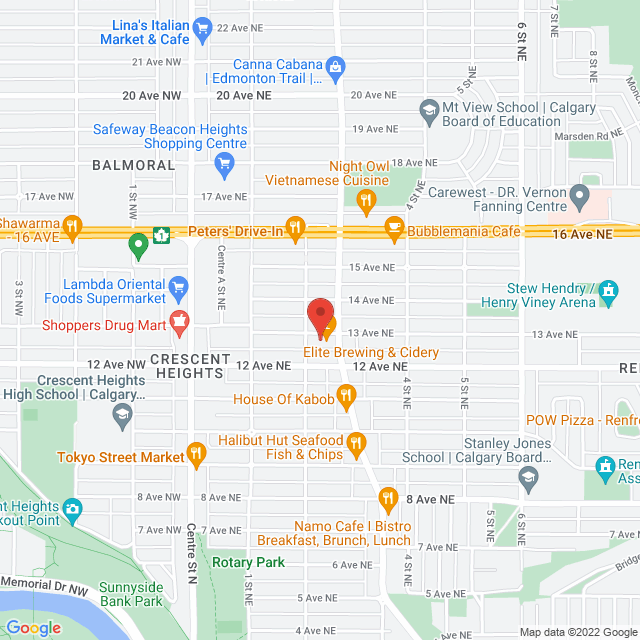 Map to VanderLeek Law in Calgary, AB