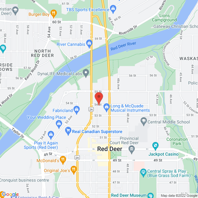 Map to St. Luke's Anglican Church Red Deer in Red Deer, AB