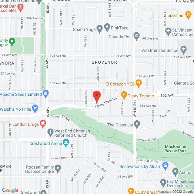 Map to St. Paul's Anglican Church in Edmonton, AB