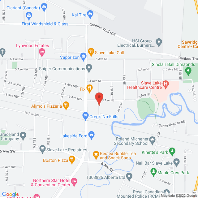 Map to Abundant Life Worship Centre in Slave Lake, AB
