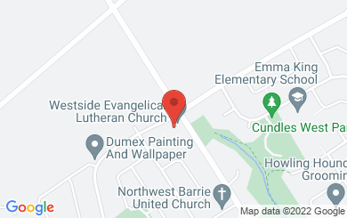 Map to Westside Evangelical Lutheran Church in Barrie, ON
