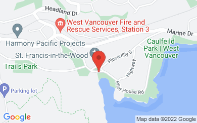 Map to St. Francis-in-the-Wood in West Vancouver, BC